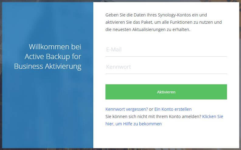 Active Backup for Business - Anmeldung mit Synology Konto