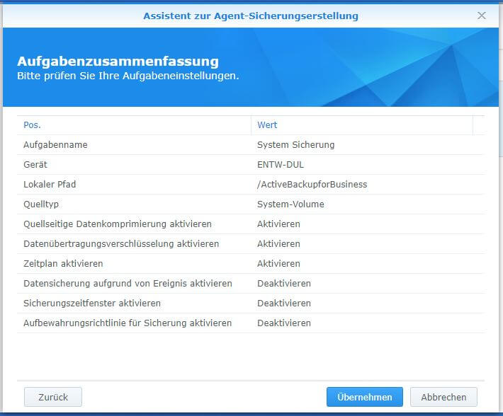 Active Backup for Business - PC - Aufgabenzusammenfassung