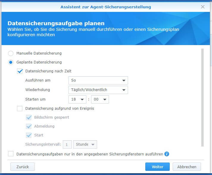 Active Backup for Business - PC - Datensicherungsaufgabe planen