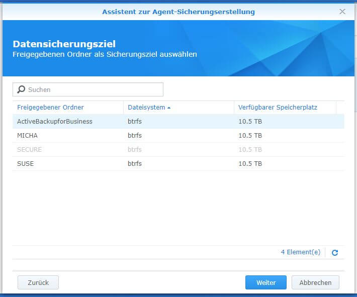 Active Backup for Business - PC - Datensicherungsziel