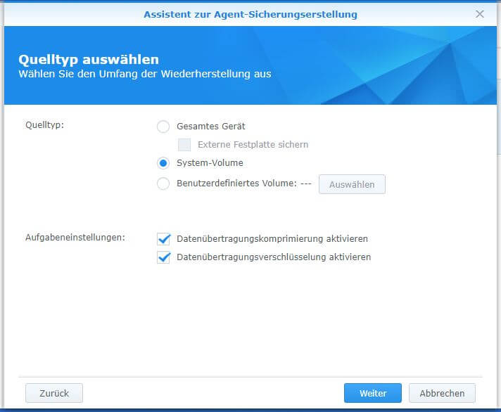 Active Backup for Business - PC - Quellentyp auswählen