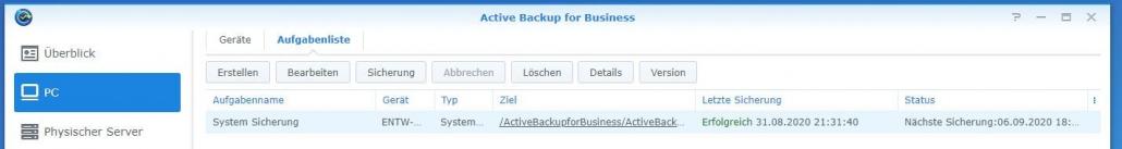 Active Backup for Business - Sicherung erfolgreich