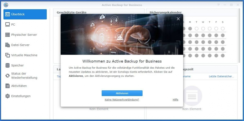 Active Backup for Business aktivieren