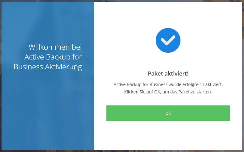 Active Backup for Business - erfolgreich aktiviert