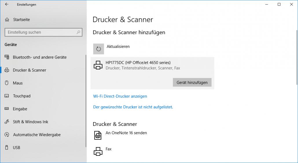 Windows-Einstellungen - Drucker gefunden