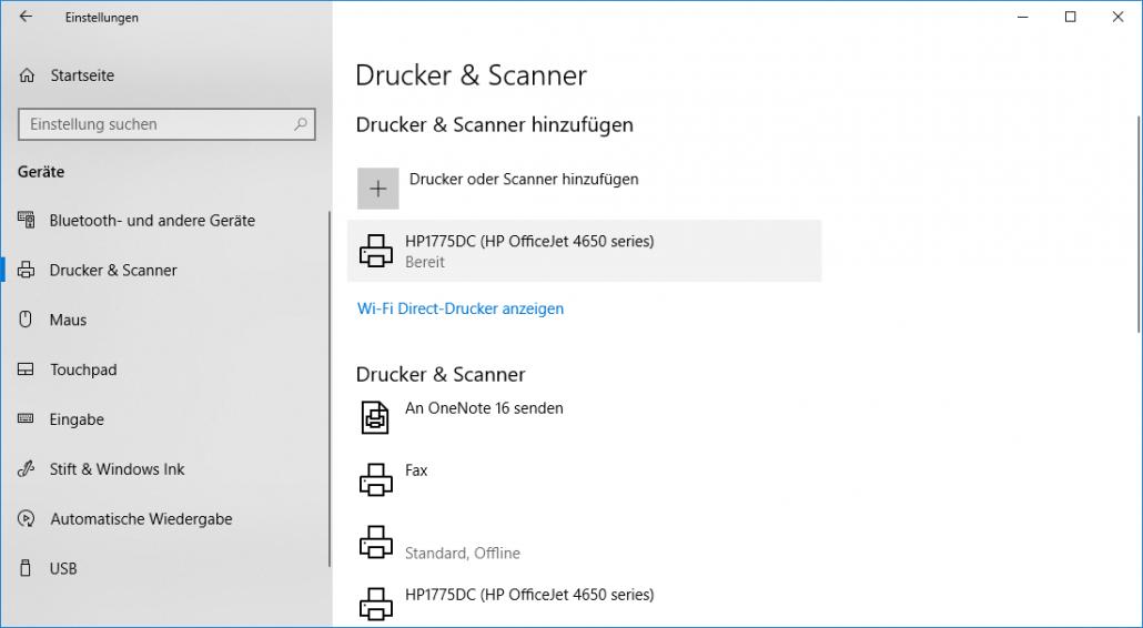 Windows-Einstellungen - Drucker hinzugefügt