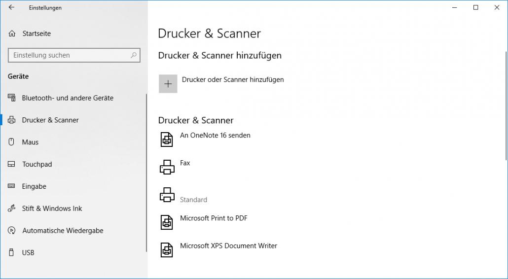 Windows-Einstellungen - Drucker oder Scanner hinzufügen