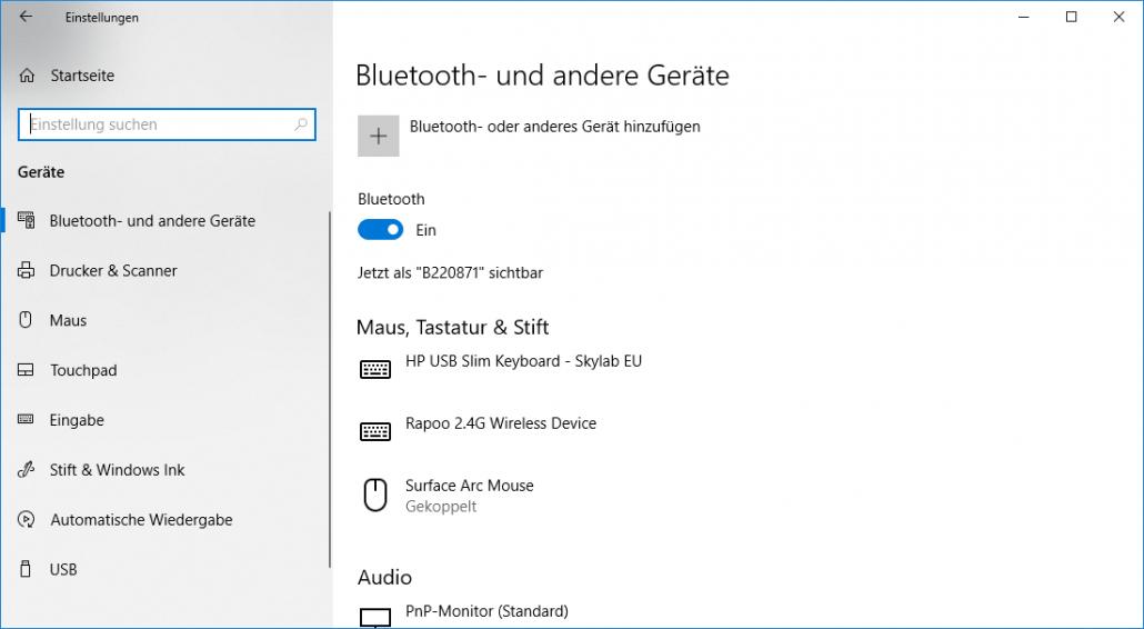 Windows-Einstellungen - Geräte