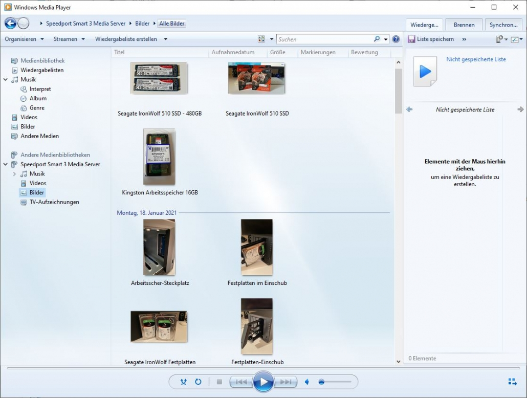 Windows Media Player - Medienserver - Musik
