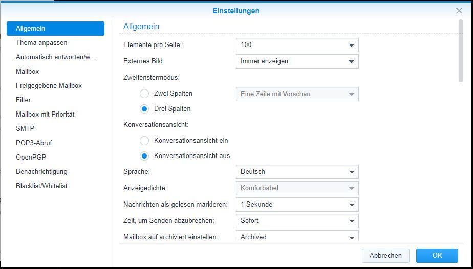 MailPlus Client Einstellungen