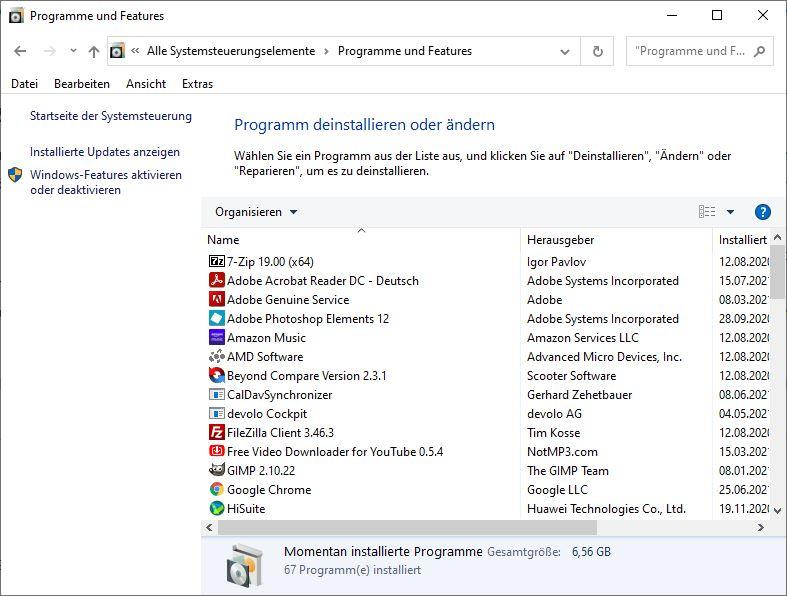 Windows 10 Systemsteuerung Programme und Features